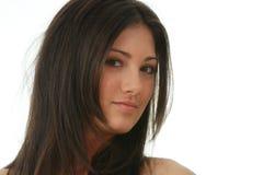Portret van jonge, mooie, het charmeren brunette Stock Foto