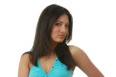 Portret van jonge, mooie, het charmeren brunette Royalty-vrije Stock Foto's