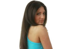 Portret van jonge, mooie, het charmeren brunette Royalty-vrije Stock Afbeelding