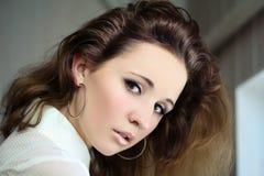Portret van Jonge Mooie Vrouw Stock Foto's