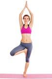 Portret van jonge mooie vrouw die geïsoleerde yoga doen - stock foto's