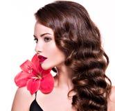 Portret van jonge mooie vrouw met bloem dichtbij het gezicht Royalty-vrije Stock Fotografie