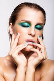 Portret van jonge mooie vrouw met groene natte het glanzen make-up Stock Afbeelding