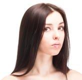 Portret van jonge mooie vrouw op wit Stock Foto's