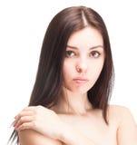 Portret van jonge mooie vrouw op wit Royalty-vrije Stock Foto's