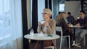 Portret van jonge schitterende vrouwelijke het drinken thee en zorgvuldig het kijken uit het venster van de koffiewinkel terwijl  stock footage