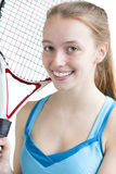 Portret van jonge tennisspeler Stock Afbeelding