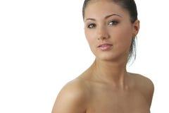 Portret van jonge vrouw met gezondheidshuid van gezicht Royalty-vrije Stock Foto's