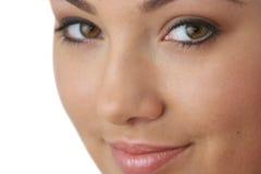 Portret van jonge vrouw met gezondheidshuid van gezicht Stock Foto's