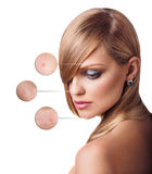 Portret van jonge vrouw met meer magnifier cirkels Stock Fotografie
