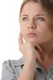 Portret van jonge vrouw (student of onderneemster) Royalty-vrije Stock Foto's