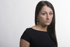 Portret van mooie lange haarbrunette Stock Fotografie