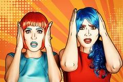 Portret van jonge vrouwen in de grappige stijl van de pop-artsamenstelling geschokt stock illustratie