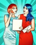 Portret van jonge vrouwen in de grappige stijl van de pop-artsamenstelling wijfjes stock illustratie
