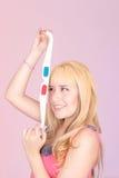 Portret van jongelui, blondevrouw, die met 3d glimlachen Royalty-vrije Stock Afbeeldingen