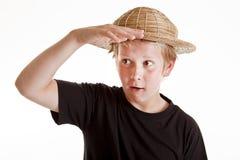 Portret van jongen met strohoed Stock Foto