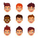 Portret van jongens Kinderen` s avatars Stock Foto