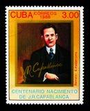 Portret van Jose Capablanca (1888-1942), de kampioen van het wereldschaak, T royalty-vrije stock afbeeldingen