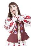 Portret van Kaukasisch Emotioneel Wijfje die Positieve Gezichtsuitroep aantonen Royalty-vrije Stock Foto