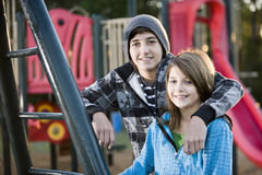 Portret van kinderen bij park Royalty-vrije Stock Foto's