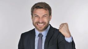 Portret van Knappe Zakenman Celebrating Success stock videobeelden