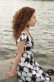 Portret van krullend meisje Stock Foto