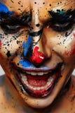 Portret van lachende krankzinnige Clown stock foto's