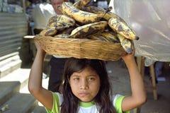 Portret van Latino meisje met bananen, kinderarbeid Stock Foto