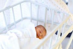 Portret van leuk aanbiddelijk pasgeboren babymeisje in het geboorteziekenhuis Royalty-vrije Stock Afbeeldingen