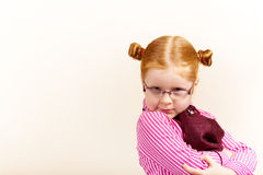 Portret van leuk elegant redhead meisje Stock Foto