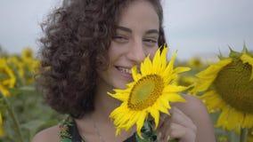 Portret van leuk krullend meisje die jokingly grote zonnebloem op het zonnebloemgebied bijten Verbinding met aard Het landelijke  stock footage