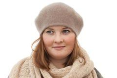 Portret van leuke jonge vrouw op wit Stock Fotografie