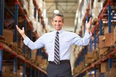 Portret van Manager In Warehouse royalty-vrije stock fotografie