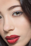 Portret van manierdame met donkerrode lippen Royalty-vrije Stock Foto's