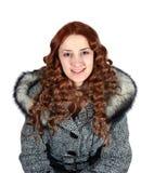 Portret van meisje in grijze laag royalty-vrije stock afbeeldingen