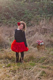 Portret van meisje in het land  stock afbeelding