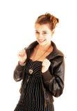 Portret van meisje in leerjasje. Stock Foto's