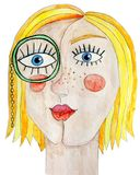 Portret van meisje met monocle Wtercolorillustratie stock illustratie