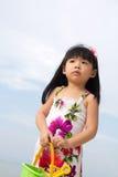 Portret van meisje op strand Stock Foto