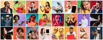 Portret van mensen die verschillende gadgets op veelkleurige achtergrond gebruiken royalty-vrije stock afbeelding