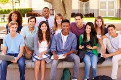 Portret van Middelbare schoolstudenten met Leraar On Campus stock foto