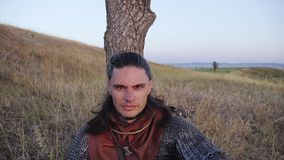 Portret van Middeleeuws Mannelijk Viking Warrior stock videobeelden
