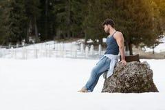 Portret van Modelman standing outdoors stock foto's