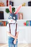 Portret van modieus jong konijntjeskonijn thuis, veelhoekig masker, Pasen-konijn royalty-vrije stock foto's