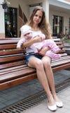 Portret van moeder en leuke baby Stock Foto's