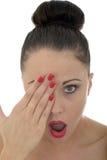 Portret van Mooi Aantrekkelijk Geschokt Schuw en Pijnlijk Y stock afbeeldingen