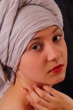 Portret van mooi jong meisje in oude stijl Stock Afbeeldingen