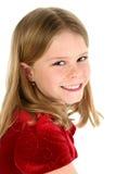 Portret van Mooi Jong Meisje in Rood Fluweel Royalty-vrije Stock Afbeelding