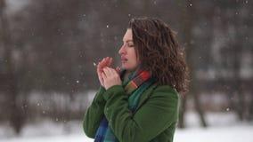 Portret van mooi krullend meisje in de wintertijd De vrouw is koude en warme handen ademhaling stock video