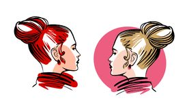 Portret van mooi meisje, jonge vrouw Manier, make-up, het embleem van de schoonheidssalon of etiket Schets vectorillustratie Royalty-vrije Stock Afbeeldingen
